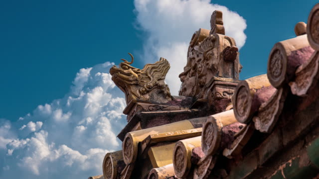 4K Time Lapse of Blue Sky with Clouds and Ancient Buildings in the Forbidden City, Beijing, China