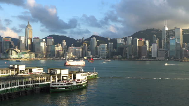 Time lapse of boat and Star ferry on the Victoria harbour in Hong Kong