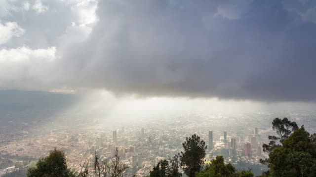 BOGOTA - CIRCA 2013: Time lapse of Bogota city from monserrate during a cloudy and foggy day