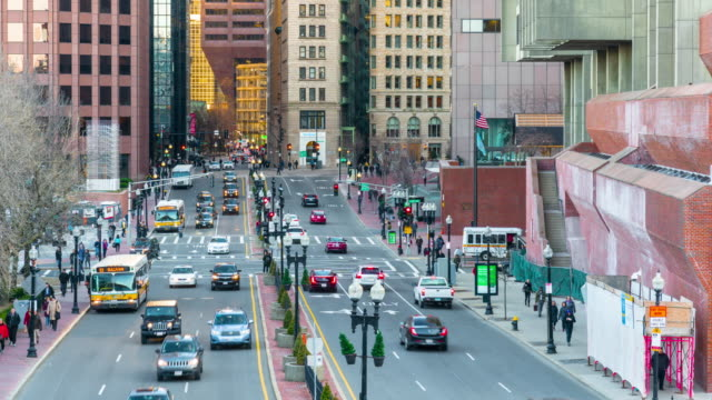 4k time lapse of boston city life and traffic road in massachusetts, united states - boston massachusetts stock videos & royalty-free footage