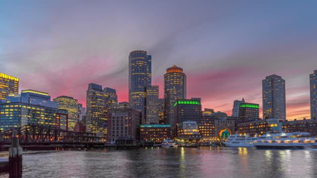 time lapse of boston harbor cityscape, usa - massachusetts stock videos & royalty-free footage