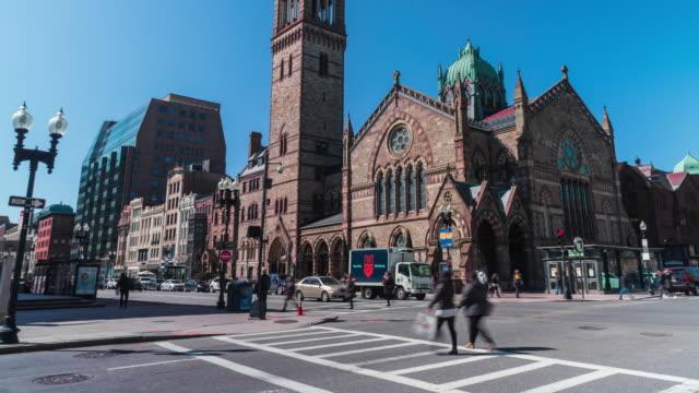 マサチューセッツ州のボストン旧南教会のタイムラプス - マサチューセッツ州 ボストン点の映像素材/bロール