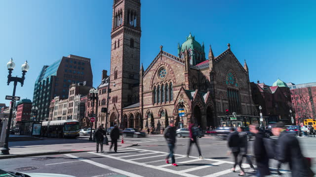 time lapse of boston old south church in in massachusetts, united states - boston massachusetts stock videos & royalty-free footage