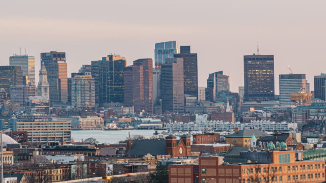 time lapse of boston skyline which can see zakim bridge and tobin bridge with express way over the boston cityscape in massachusetts, usa - back bay boston stock videos & royalty-free footage