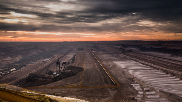 time lapse of brown coal open cast mine - open cast mine stock videos & royalty-free footage