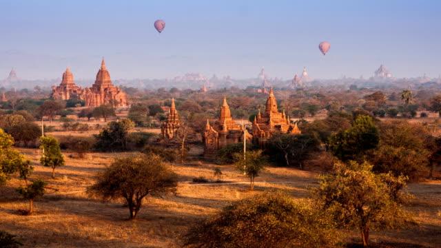 Time lapse of Buddhist Temple at Bagan. Myanmar (Burma)