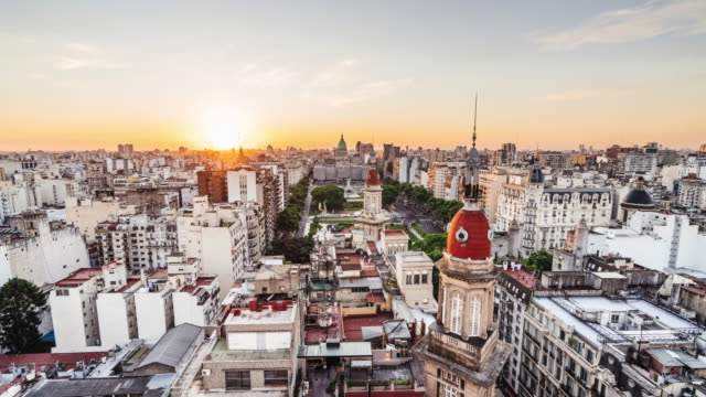 time lapse of buenos aires skyline at sunset - palacio del congreso stock videos & royalty-free footage