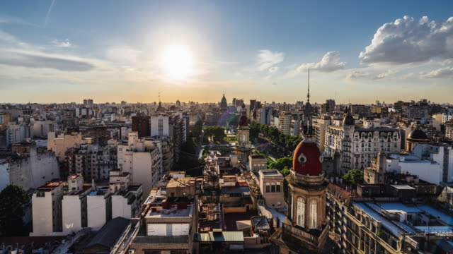 time lapse of buenos aires skyline at sunset - buenos aires stock videos & royalty-free footage