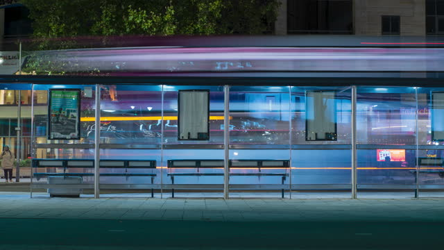 time lapse of buses light trails while traveling through a bus station on september 9, 2020 in bristol, uk. - traffic time lapse stock videos & royalty-free footage