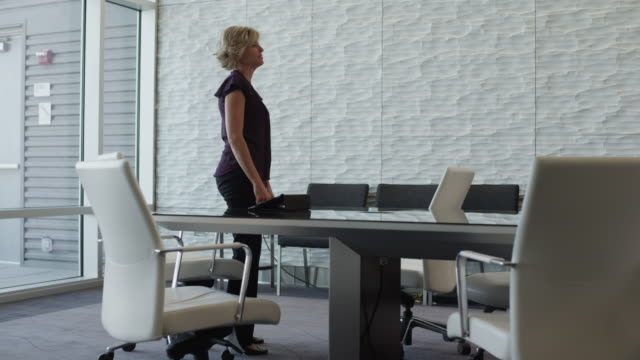 Time lapse of businesswoman interviewing people in conference room / Provo, Utah, United States,