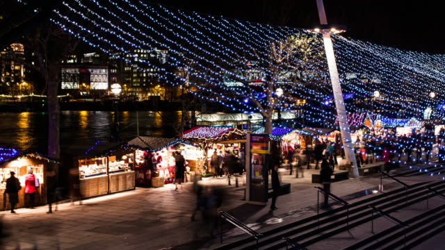 LONDON - CIRCA 2012: Time lapse of busy Christmas South-bank Market in London