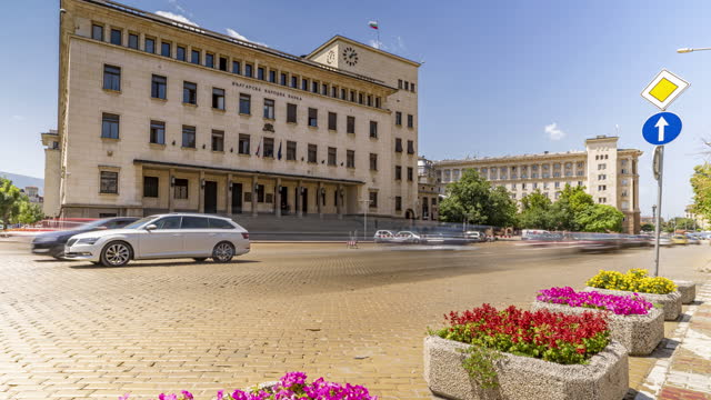time lapse of busy city street in sofia, bulgaria - eastern european culture stock videos & royalty-free footage