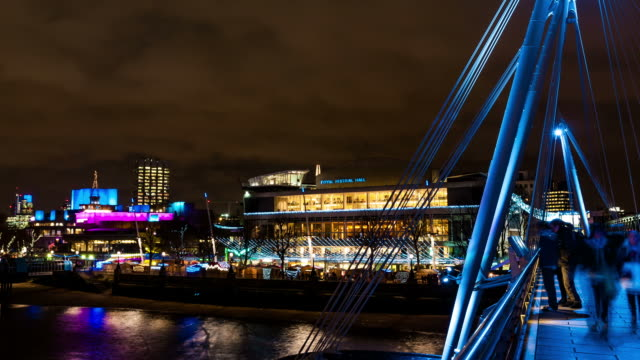 LONDON - CIRCA 2012:  Time Lapse of Busy Embankment bridge and view of christmas South-bank market in London