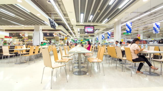 time lapse of cafeteria in the supermarket - canteen stock videos & royalty-free footage
