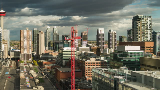 time lapse of calgary city - downtown stock videos & royalty-free footage