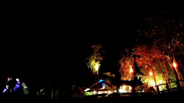 Time lapse of campground at night.