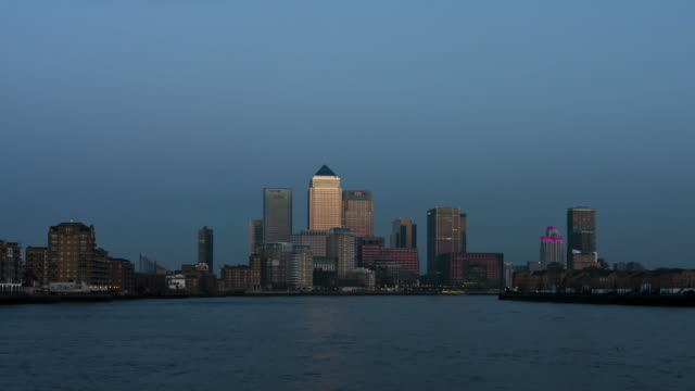 LONDON - CIRCA 2012: Time lapse of Canary Wharf during sunset