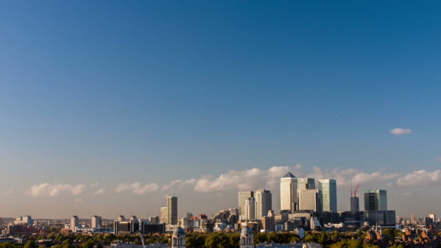 LONDON - CIRCA 2012: Time lapse of Canary Wharf scape in London at sunset