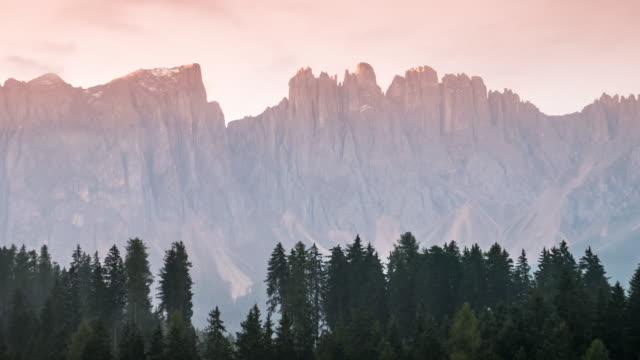 Time Lapse of Carezza lake at sunrise time , south tyrol dolomites , Italy