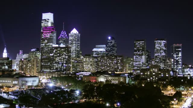 A time lapse of center city philadelphia at night