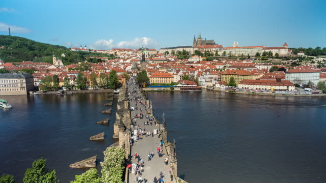 Time lapse of Charles Bridge, the Castle District and St. Vitus Cathedral, Prague