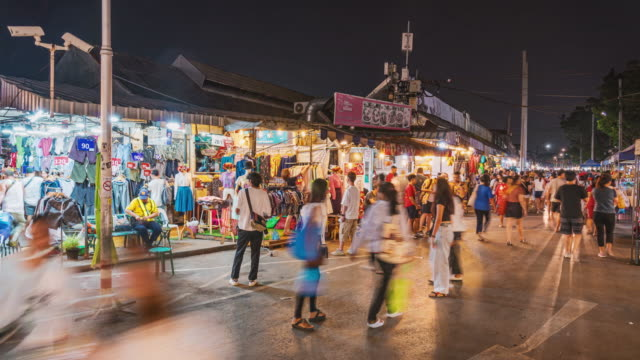 time lapse of chatuchak weekend market in bangkok - bangkok stock videos & royalty-free footage