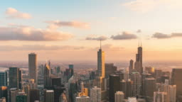 Time lapse of Chicago cityscape day to night, Illinois, United States