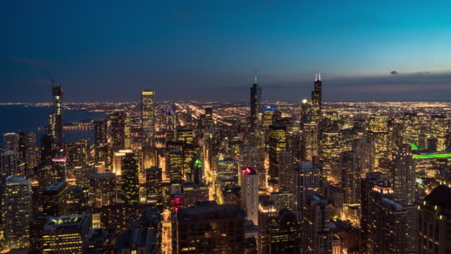 4k time lapse of chicago cityscape river side at the sunset time with day to night, usa downtown skyline, architecture and building with tourist concept - willis tower stock videos & royalty-free footage