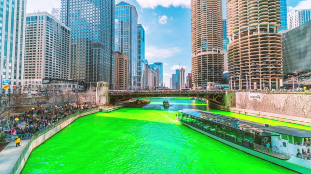 time lapse of chicago river in st. patrick's day, illinois, united states - st. patrick's day stock videos & royalty-free footage