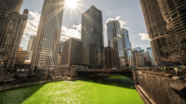time lapse of chicago river in st. patrick's day, illinois, united states - chicago river stock videos & royalty-free footage