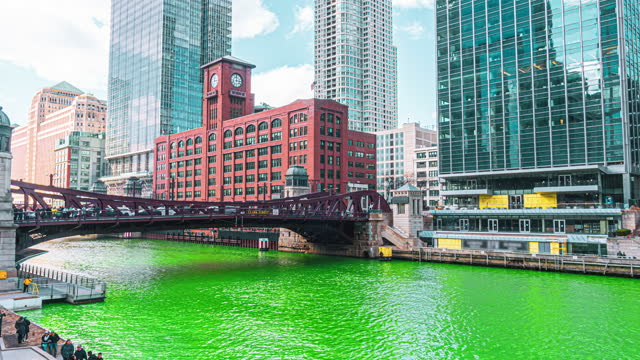 time lapse of chicago river in st. patrick's day, illinois, united states - chicago 'l' stock videos & royalty-free footage