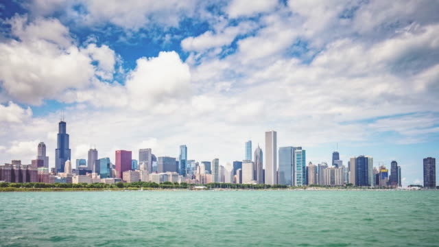 time lapse of  chicago skyline - chicago loop stock videos and b-roll footage