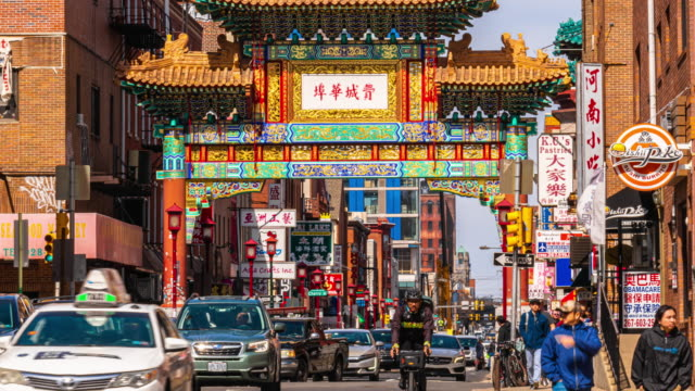 4k time lapse of chinatown in philadelphia, pennsylvania, united states - chinatown stock videos & royalty-free footage