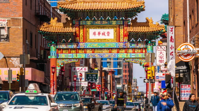 time lapse of chinatown in philadelphia, pennsylvania, united states - philadelphia pennsylvania stock videos & royalty-free footage