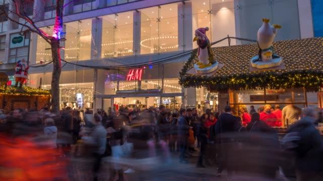 time lapse of christmas market on new street, birmingham, england, united kingdom, europe - west midlands stock videos & royalty-free footage