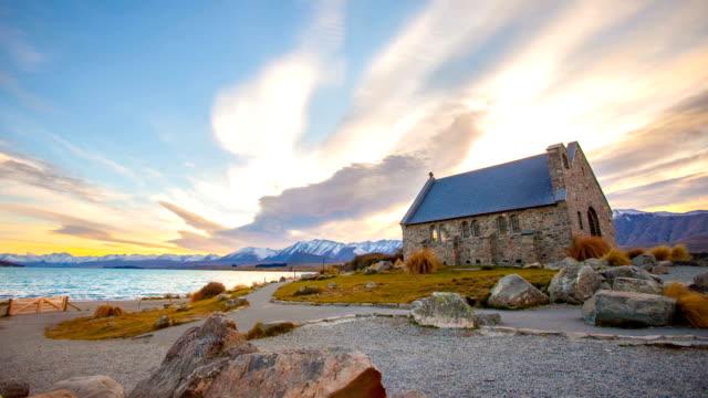 time lapse of church of the good shepherd, lake tekapo - celebrities stock videos & royalty-free footage