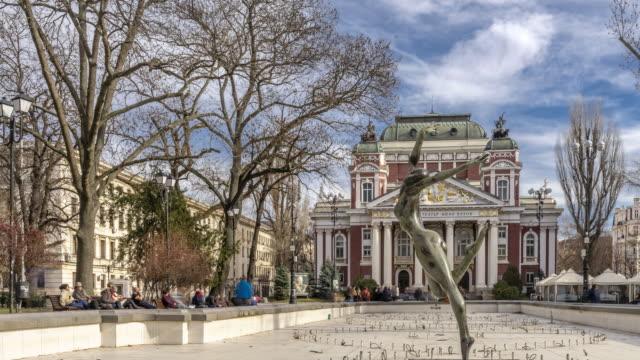 time lapse of city garden & ivan vazov national theatre in sofia, bulgaria - bulgaria stock videos & royalty-free footage