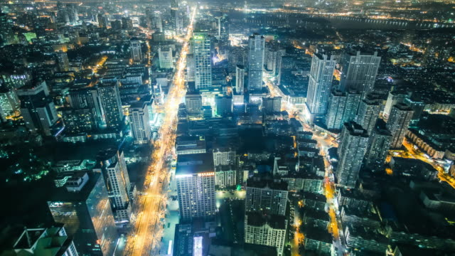 time lapse of city skyline at night - gerade stock-videos und b-roll-filmmaterial