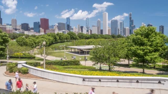time lapse of city skyline from museum campus, chicago, illinois, united states of america, north america - north stock videos & royalty-free footage