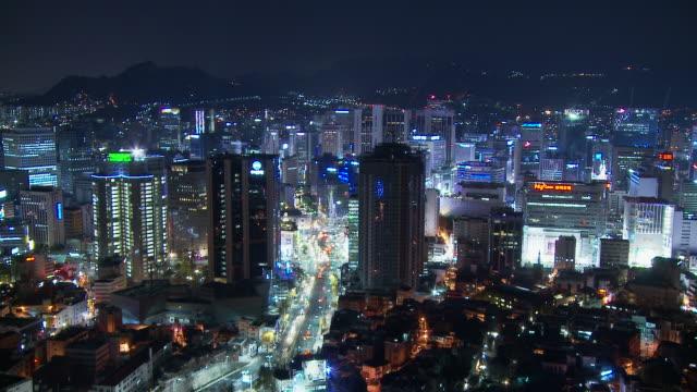 time lapse of city skyline of seoul south korea - 韓国点の映像素材/bロール