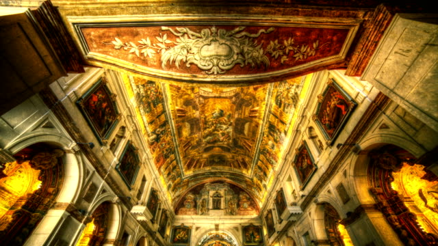 time lapse of classic church interior. - baroque stock videos & royalty-free footage