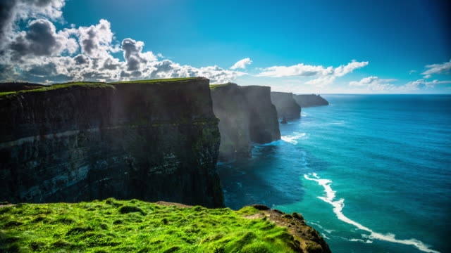 time lapse of cliffs of moher in ireland - doolin stock videos & royalty-free footage