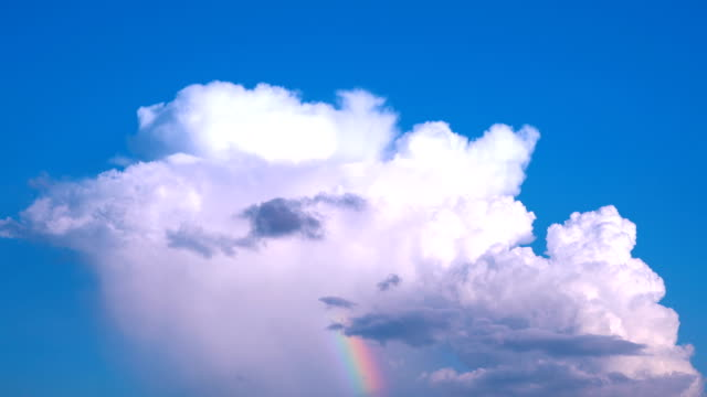 time lapse of cloud with small rainbow - cumulus stock videos & royalty-free footage