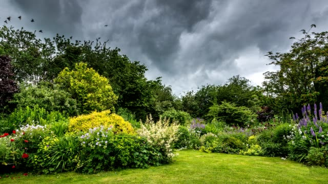 Time lapse of clouds moving over an English country garden