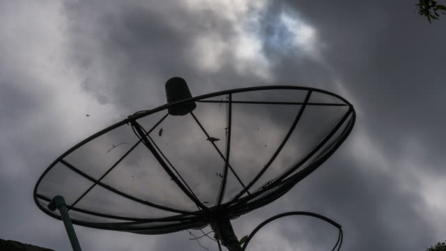 Time Lapse of clouds moving over satellite dish antenna