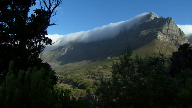Time Lapse of clouds moving over Table Mountain in Cape Town South Africa