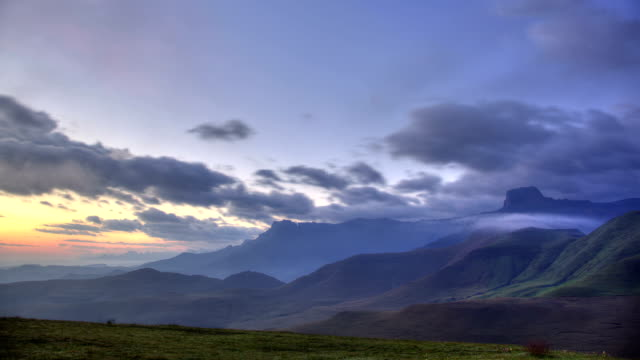 Time lapse of clouds moving over the Drakensburg mountains, South Africa