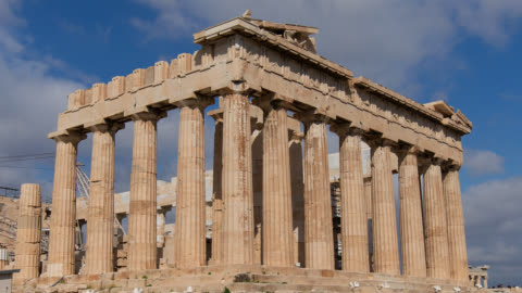 stockvideo's en b-roll-footage met time lapse of clouds over the parthenon on the acropolis - griekenland