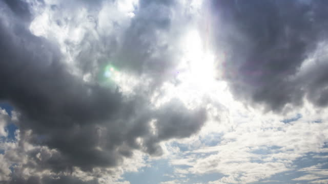 time lapse of cloudscape with bright sun shining with clouds passing. - earth goddess stock videos & royalty-free footage