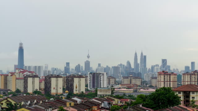 4K Time lapse of cloudy day over downtown Kuala Lumpur, capital city of Malaysia. Zoom In.